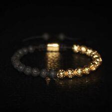 Natural Stone Gold Lava Rock Healing Yoga Diffuser Charm Beaded Stretch Bracelet
