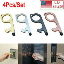 4Pcs Clean Key Door Opener Handheld Brass EDC Keychain No Touch Hand Tool US gh
