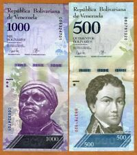 SET Venezuela, 500;1000 Bolivares, 2017, P-New,  New design, denomination UNC