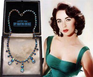 VINTAGE 1950s BLUE AURORA BOREALIS RHINESTONE CHOKER NECKLACE BRIDGERTON BRIDAL