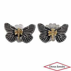 LAGOS Caviar 18K Gold Sterling Silver Butterfly Stud Earrings NR