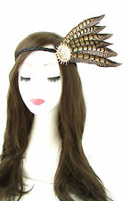 Red indian native american feather coiffure bandeau marron or coiffe 526