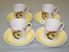 SET OF 4 RETRO ALFRED MEAKIN COFFEE CUPS/SAUCERS - GLO-WHITE, AS NEW