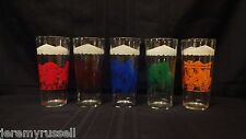 Complete Set of 5 Vintage Tall Big Top Peanut Butter Circus Glasses Tumblers