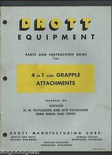 DROTT 4 IN 1 AND GRAPPLE ATTACHMENTS ON HOUGH PAYLOADER PARTS INSTRUCTION BOOK