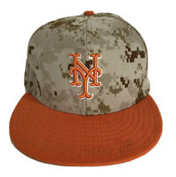 New York Mets MLB Baseball CAMO & Orange New Era 59FIFTY USA Sz 8 Fitted Cap Hat