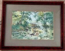 Belle aquarelle de Paul LIPPE (1866-1926),rivière en sous bois.