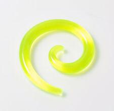 4 Mm Verde Espiral acrílico camillas forma cónica tapón túnel