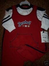NWT Okie Dokie 2PC Longall Romper 12M Baseball NEW