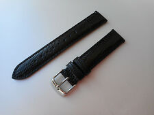 18mm Teju Lizard Black Genuine Leather Watch Band,Strap, Interchangeable EZ-PIN