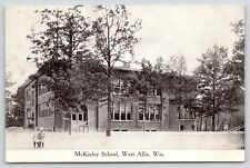 West Allis Wisconsin~Two Very Young Students Leaving McKinley School~1913 B&W PC