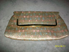Vintage Gold Metallic Floral Jacquard Evening Bag Mirror