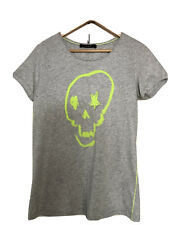 Oui, Neon Yellow Skull Design T Shirt, In Grey, Cotton, Size Uk 14, EU 42