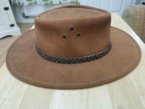 JACARU Australian Bush Cowboy Hat - Brown Wallaroo Suede /leather trim - Medium