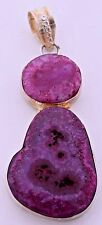 Druzy Pink Purple Crystal Geode Silver Plated Unique Quartz Gemstone Pendant Big