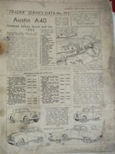 Motor Trader Service Data AUSTIN A40 SOMERSET SALOON SPORTS & VAN 1952