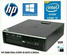 HP 8300 Elite SFF i5-3470 3.20Ghz 8Gb SSD+HDD Win10P Dekstop PC Computer wifi