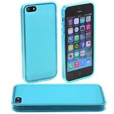 5 x BLUE APPLE iPHONE 5 /5G SOFT GEL SILICONE RUBBER CASES :FROSTED BACK TPU M27