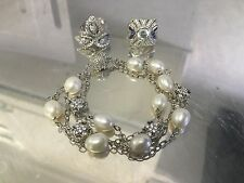 Lot of 3 ESPOSITO Art Deco Sapphire CZ 925 Sterling Silver Rings Pearl Bracelet