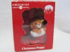American Greetings Christmas Puppy 1991 Ornament Dog in Santa Boot Ceramic