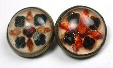 """Antique Glass Set in Brass Button Pair Reverse Intaglio Design 7/16"""""""