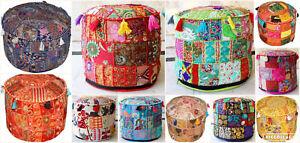 "18"" Vintage Pouf Ottoman Round Indian Ottoman Cover Pouf Pouffe Footstool Ethnic"
