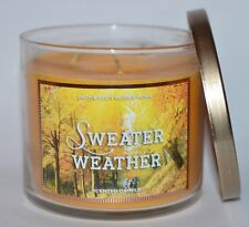 NEW BATH & BODY WORKS SWEATER WEATHER SCENTED CANDLE 3 WICK 14.5 OZ LARGE YELLOW