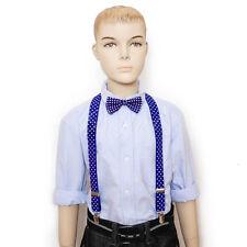 Royal Blue w/ Polka dot bowtie & suspender set for Baby Toddler Kids Boys