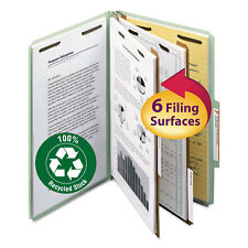 "Smead Pressboard Classification Folder 2"" Exp. 2 Dividers Legal Gray/Green 10"