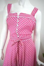 80s Does 50s ~ XL XXL ~ Pink & White Chevron Stripe Sundress ~ CUTE ~ 36w 42b
