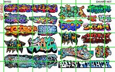 NH103 1/2 Set N SCALE MODERN GRAFFITI URBAN TAGGING for TRAINS BUILDING MORE