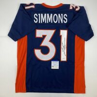 Autographed/Signed JUSTIN SIMMONS Denver Blue Football Jersey PSA/DNA COA Auto