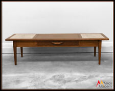 60s Mid Century Modern Lane Style Coffee Table w/ Drawer & Marble Insert Top