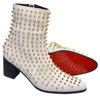 Zota Men Pink Gray Black Leather Snake Pattern Studded Angular Toe Fun Ankle ...