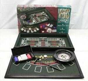 "Feldstein VEGAS Casino Trio 31"" Wooden Craps/Roulette/ Blackjack Table ~COMPLETE"
