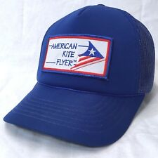 American Kite Flyer Embroidered Patch Snapback Trucker Hat Blue Baseball Cap c3