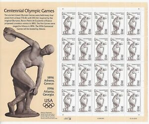 Centennial Olympic Games - 3087 1996 32c Commemorative Pane of 20 - Mint NH