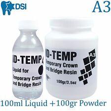 Dental Self Curing Acrylic Resin Set Powder 100gr & Liquid 100ml A3