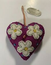 Midwest Cannon Falls Cbk Wool Heart Christmas Ornament New Zealand Wool Flowers