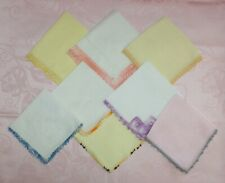8 Vintage Hankies Tatted and Crocheted Edging Solid Colors White Yellow Pink