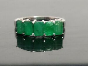 925 Silver Emerald Engagement Ring 4x6 mm Octagon 3 Ct emerald Wedding ring