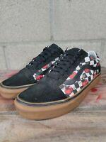 VANS Off The WallCherry Print Canvas Low Skate Sneaker Shoes Brown Gum