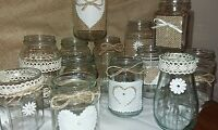 Wedding Table centrepieces 12 Decorated candle/Flower Rustic Traditional Jars