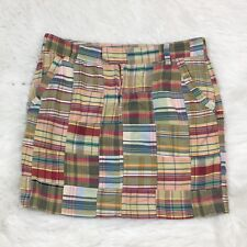 Tommy Hilfiger Womens Skirt Size 2 Plaid Patchwork Zip Front Preppy Chic