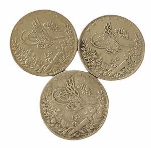 3X Ottoman Egypt MISIR 1 Qirsh Sultan Mehmed V 1327-3 Silber Osmanisch UNC
