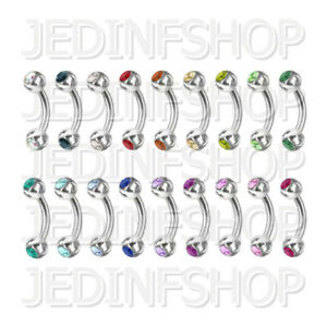 Curved Barbell Banana Bar   0.8mm (20g) - 6mm 8mm 10mm   Double Gem - 18 Colours