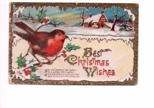VINTAGE CHRISTMAS GREETING GILDED postcard: ROBIN BIRD 1927