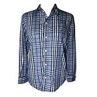 Nautica Plaid Long Sleeve Button Up Shirt Men's L 14/16 Cotton Blend Blue White