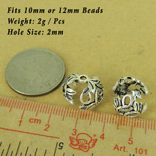 2 PCS 925 Sterling Silver Bead Caps Vintage DIY Jewelry Making WSP554X2