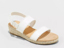 CAT & JACK Chessie Espadrille White Sandals - Girls Youth Size 4  - NEW